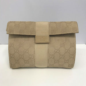 GUCCI GG Logo Khaki Canvas Clutch or Make up Bag